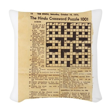 Decorative Pillow Cover Crossword Clue : crossword puzzle Woven Throw Pillow by sssnnnooopppyys_doghouse