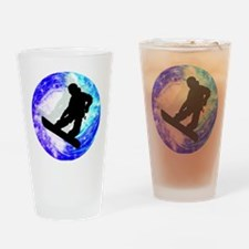 Snowboarder in Whiteout Drinking Glass