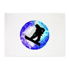 Snowboarder in Whiteout 5'x7'Area Rug