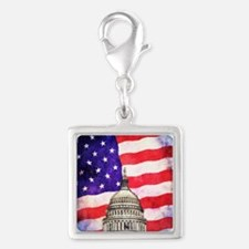American Flag And Capitol Building Charms