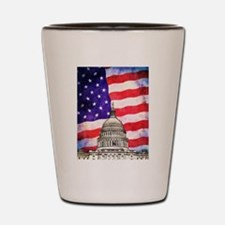 American Flag And Capitol Building Shot Glass
