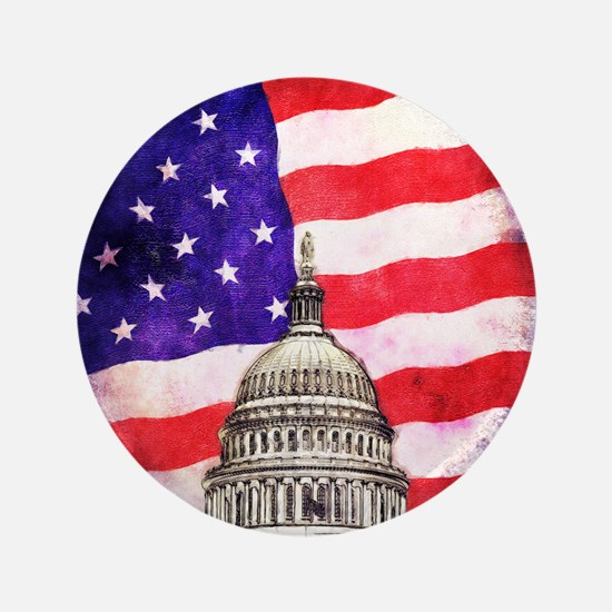 """American Flag And Capitol Building 3.5"""" Button"""