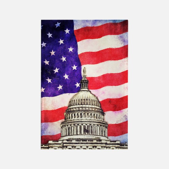 American Flag And Capitol Building Magnets