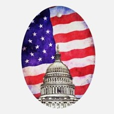 American Flag And Capitol Building Ornament (Oval)
