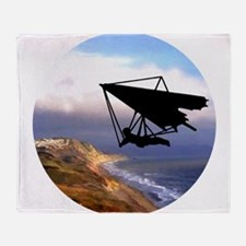 Hang Gliding Over the California Coa Throw Blanket