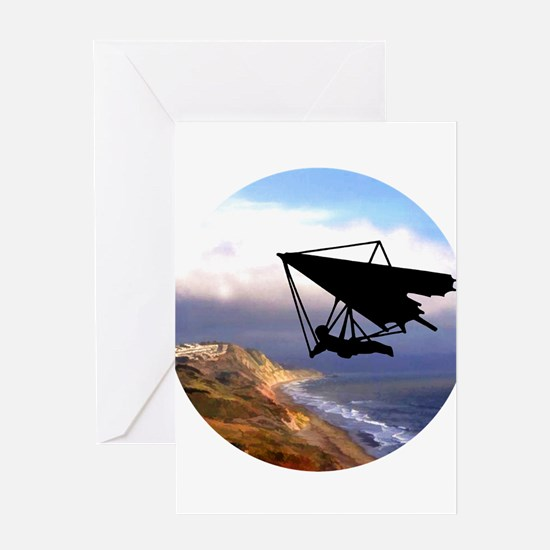 Hang Gliding Over the California Co Greeting Cards