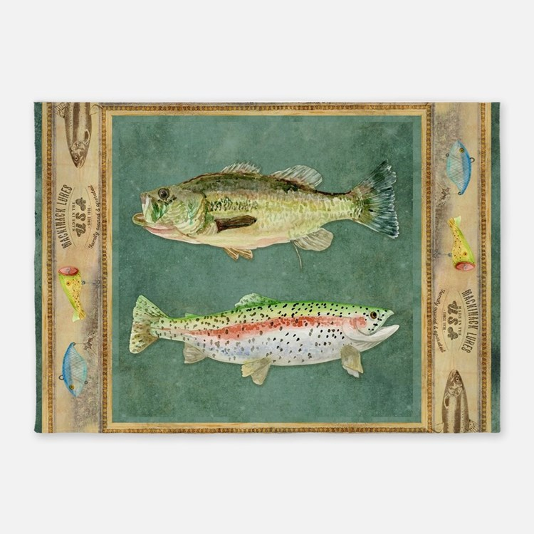 Bass fishing rugs bass fishing area rugs indoor outdoor for Fish area rug