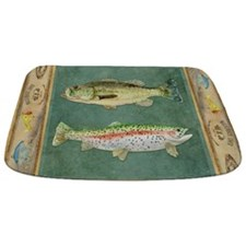 Fishing Cabin Lake Lodge Plaid Decor Bathmat