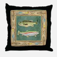 Fishing Cabin Lake Lodge Plaid Decor Throw Pillow