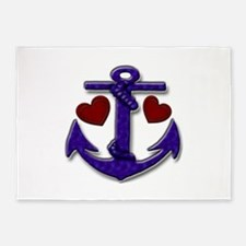 Anchor and Hearts 5'x7'Area Rug