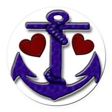 Anchor and Hearts Round Car Magnet