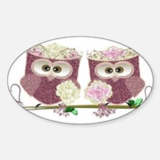 Two Brides Cute Wedding Owls Art Decal