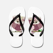 Two Brides Cute Wedding Owls Art Flip Flops