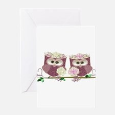 Two Brides Cute Wedding Owls Art Greeting Cards