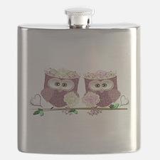 Two Brides Cute Wedding Owls Art Flask