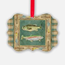 Fishing Cabin Lake Lodge Plaid De Ornament