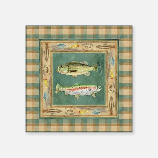 "Fishing Cabin Lake Lodge Pl Square Sticker 3"" x 3"""