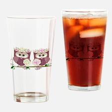 Two Brides Cute Wedding Owls Art Drinking Glass