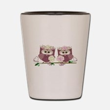 Two Brides Cute Wedding Owls Art Shot Glass