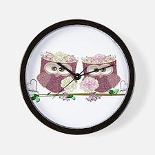 Two Brides Cute Wedding Owls Art Wall Clock