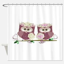 Two Brides Cute Wedding Owls Art Shower Curtain