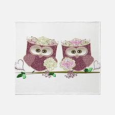 Two Brides Cute Wedding Owls Art Throw Blanket