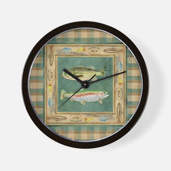 Fishing Cabin Lake Lodge Plaid Decor Wall Clock
