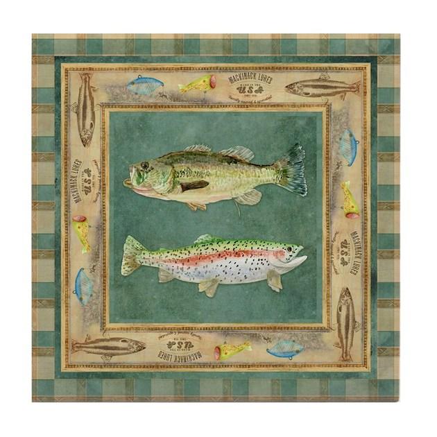 Fishing Cabin Lake Lodge Plaid Decor Tile Coaster By Admin Cp113518717