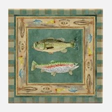 Fishing Cabin Lake Lodge Plaid Decor Tile Coaster