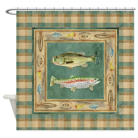 Fishing Cabin Lake Lodge Plaid Deco Shower Curtain By