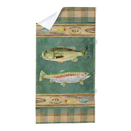 Fishing Cabin Lake Lodge Plaid Decor Beach Towel By Admin Cp113518717