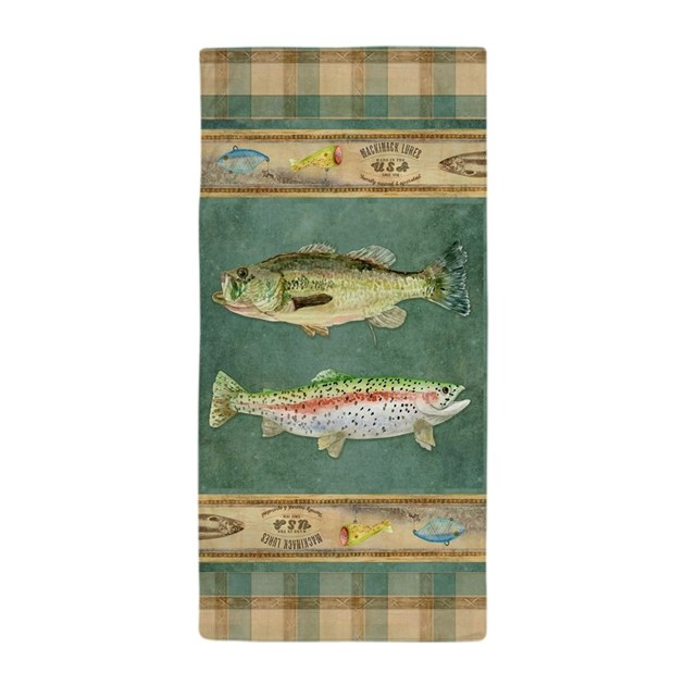 Fishing cabin lake lodge plaid decor beach towel by admin for Beach cabin decor