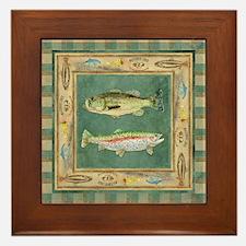 Fishing Cabin Lake Lodge Plaid Decor Framed Tile