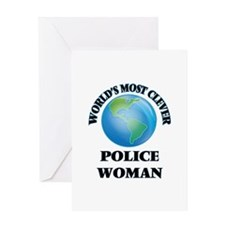 World's Most Clever Police Woman Greeting Cards