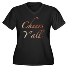 Cheers Y'all Women's Plus Size V-Neck Dark T-Shirt