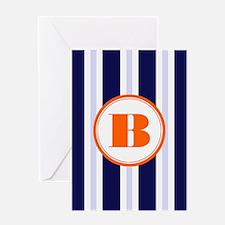 Orange B Monostripe Greeting Cards