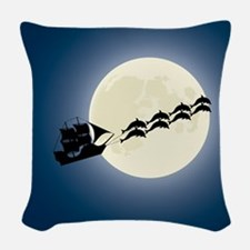 Santa Pirate Ship Woven Throw Pillow