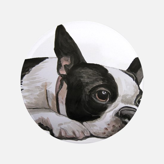 "Cute Boston terrier 3.5"" Button"