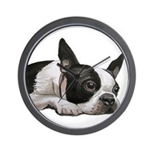 Cute Boston terriers Wall Clock