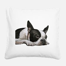 Cute Boston terrier Square Canvas Pillow