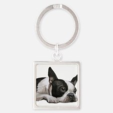 Funny Boston terrier Square Keychain