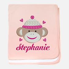 Personalized Sock Monkey baby blanket