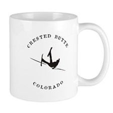 Crested Butte Colorado Funny Falling Skier Mugs