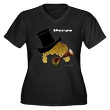 Harpo Women's Plus Size V-Neck Dark T-Shirt