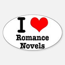I Heart (Love) Romance Novels Oval Decal