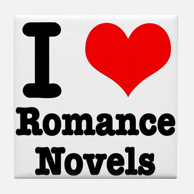 I Heart (Love) Romance Novels Tile Coaster