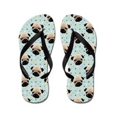 Pugs on Polka Dots.jpg Flip Flops