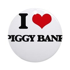 I Love Piggy Bank Ornament (Round)