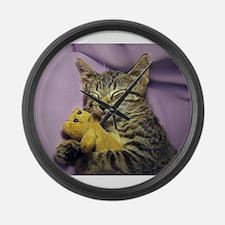 Funny Tabby cat Large Wall Clock