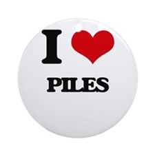 I Love Piles Ornament (Round)